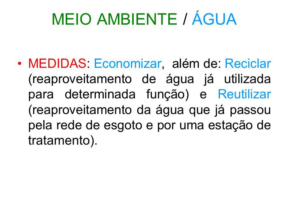 MEIO AMBIENTE / ÁGUA •MEDIDAS: Economizar, além de: Reciclar (reaproveitamento de água já utilizada para determinada função) e Reutilizar (reaproveita