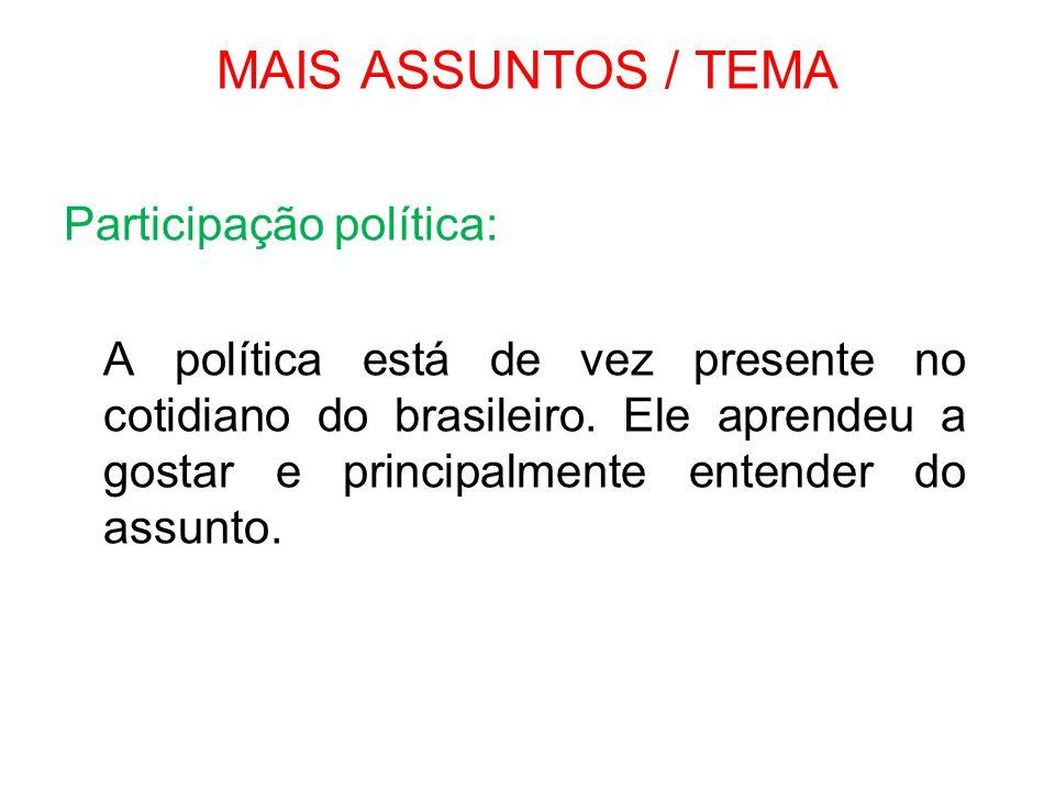 MAIS ASSUNTOS / TEMA Participação política: A política está de vez presente no cotidiano do brasileiro. Ele aprendeu a gostar e principalmente entende