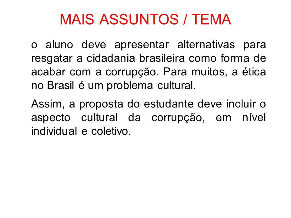 MAIS ASSUNTOS / TEMA o aluno deve apresentar alternativas para resgatar a cidadania brasileira como forma de acabar com a corrupção. Para muitos, a ét