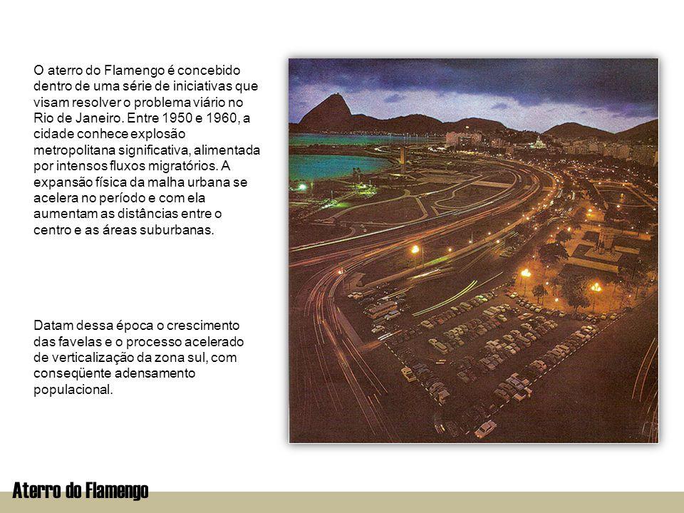 Aterro do FlamengoImplantação O colapso do sistema viário e as dificuldades crescentes de acesso ao centro impõem o aprimoramento das vias de circulação.
