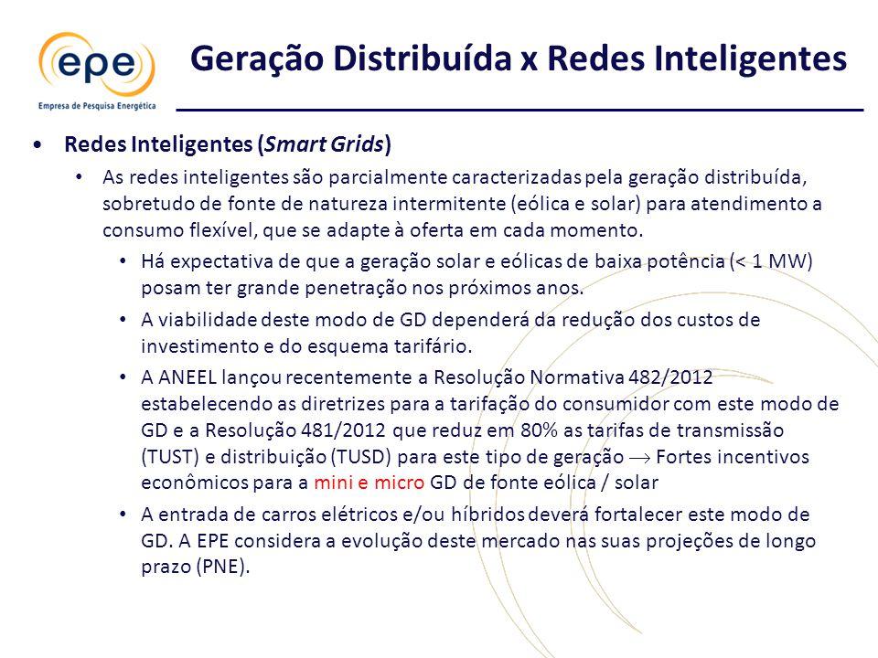•Redes Inteligentes (Smart Grids) • As redes inteligentes são parcialmente caracterizadas pela geração distribuída, sobretudo de fonte de natureza intermitente (eólica e solar) para atendimento a consumo flexível, que se adapte à oferta em cada momento.
