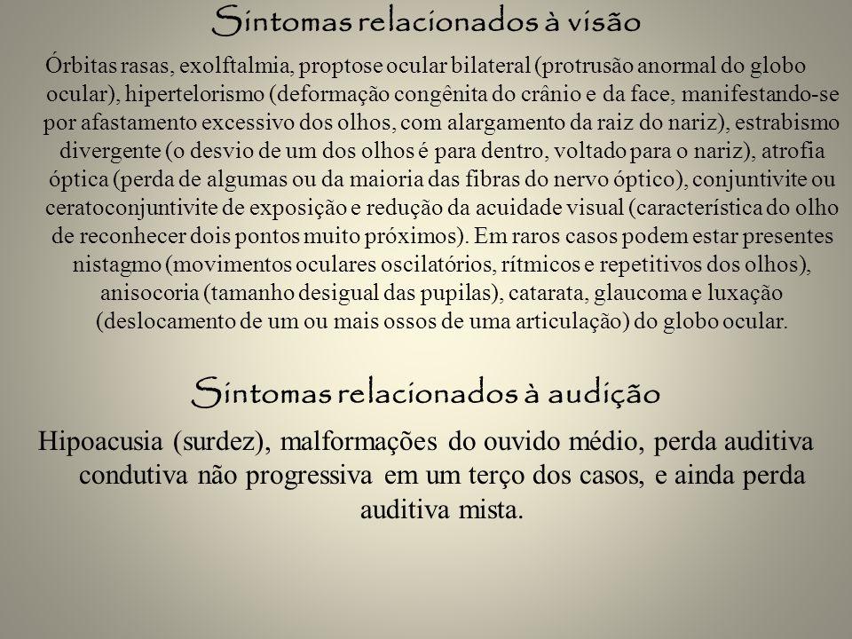 Sintomas relacionados à visão Órbitas rasas, exolftalmia, proptose ocular bilateral (protrusão anormal do globo ocular), hipertelorismo (deformação co