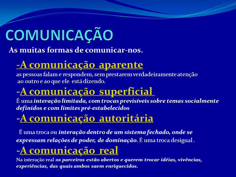 As muitas formas de comunicar-nos. -A comunicação aparente as pessoas falam e respondem, sem prestarem verdadeiramente atenção ao outro e ao que ele e