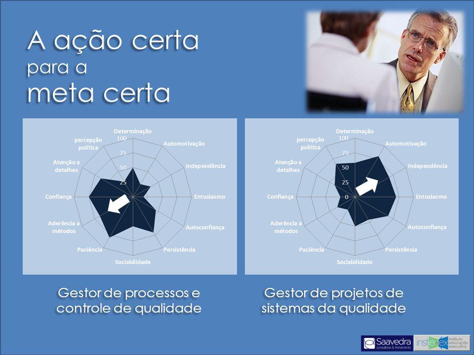 A ação certa para a meta certa Gestor de processos e controle de qualidade Gestor de projetos de sistemas da qualidade