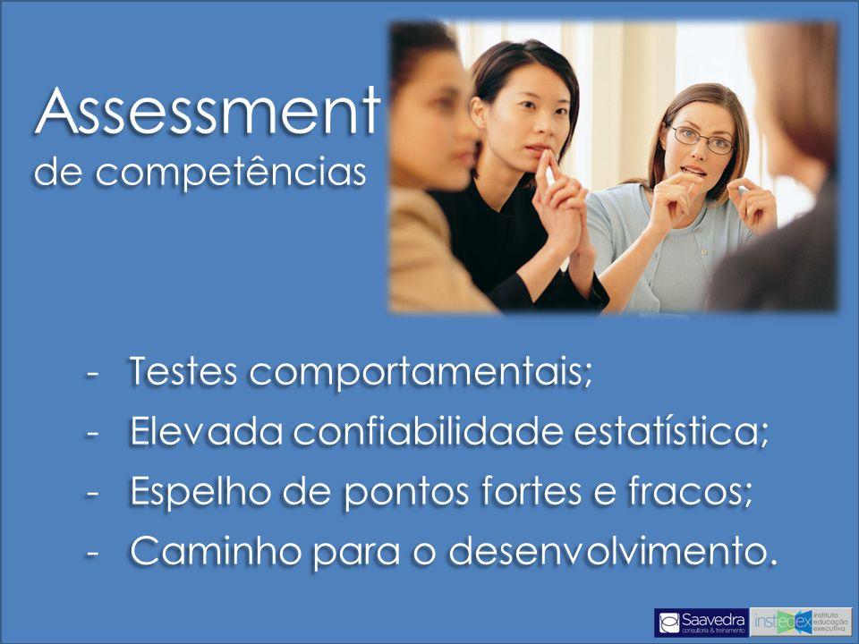 -Testes comportamentais; -Elevada confiabilidade estatística; -Espelho de pontos fortes e fracos; -Caminho para o desenvolvimento.