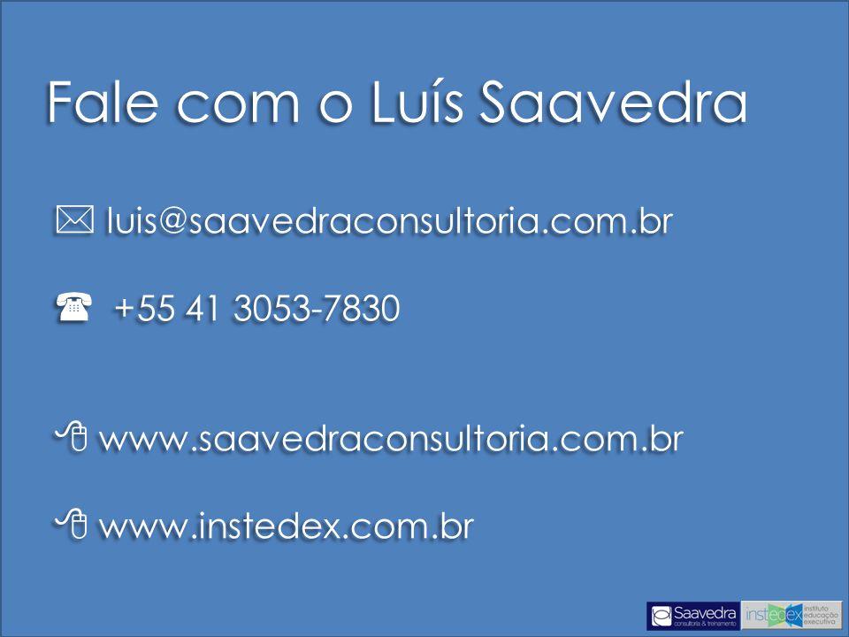 Fale com o Luís Saavedra  luis@saavedraconsultoria.com.br  +55 41 3053-7830  www.saavedraconsultoria.com.br  www.instedex.com.br  luis@saavedraco