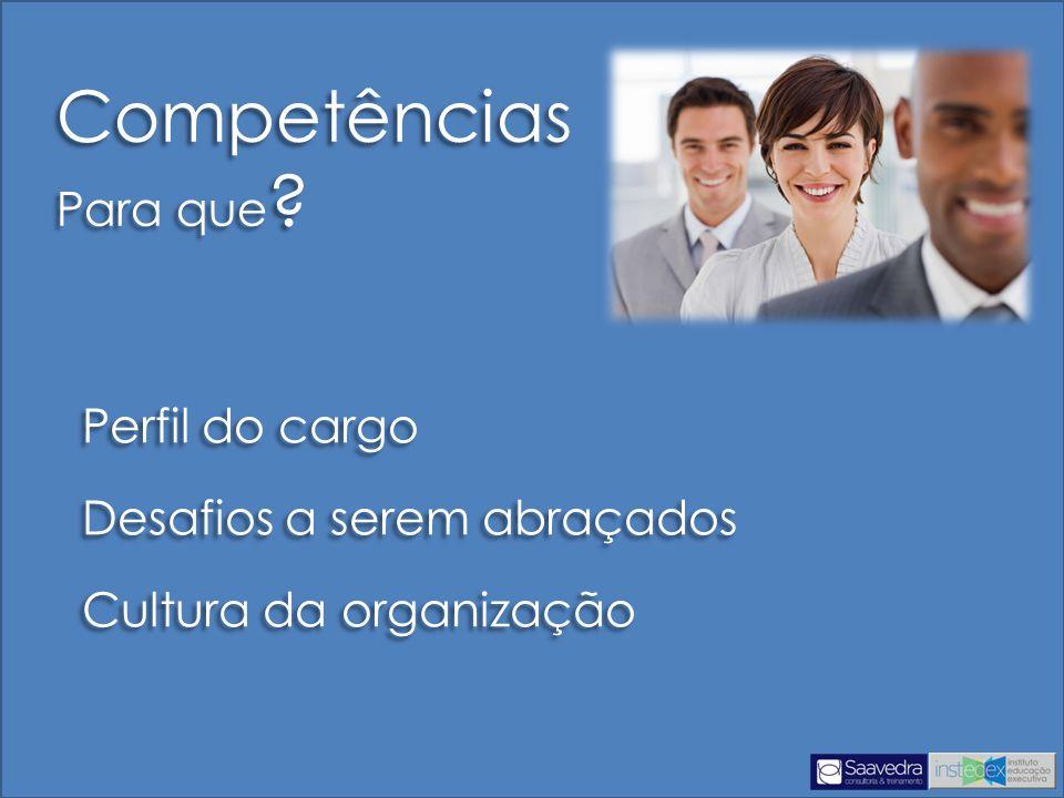 Perfil do cargo Desafios a serem abraçados Cultura da organização Perfil do cargo Desafios a serem abraçados Cultura da organização Competências Para que .