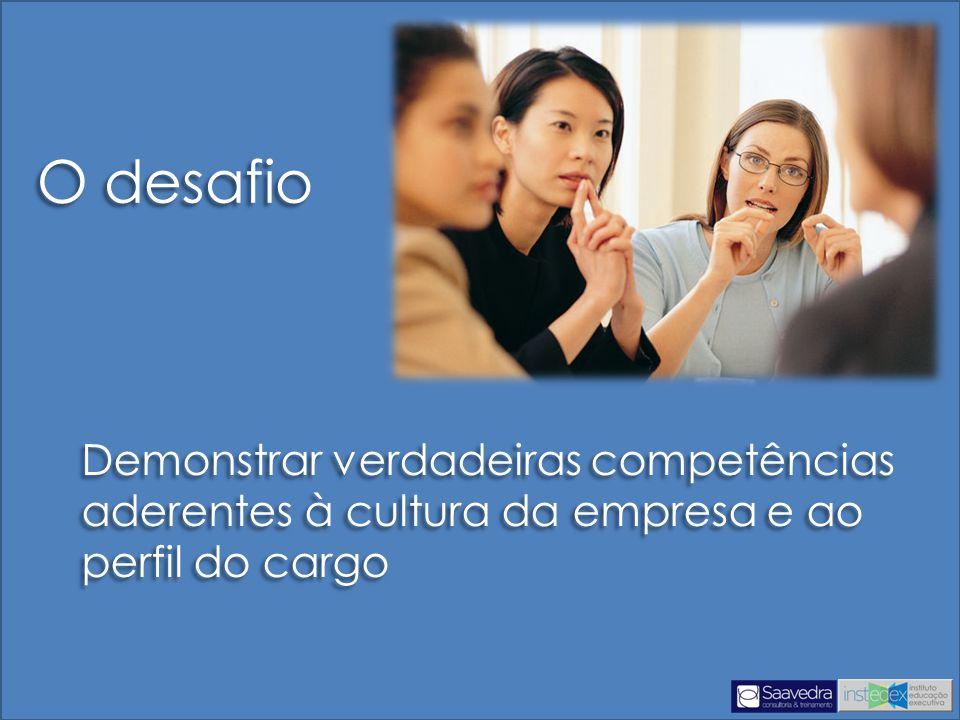 Demonstrar verdadeiras competências aderentes à cultura da empresa e ao perfil do cargo O desafio