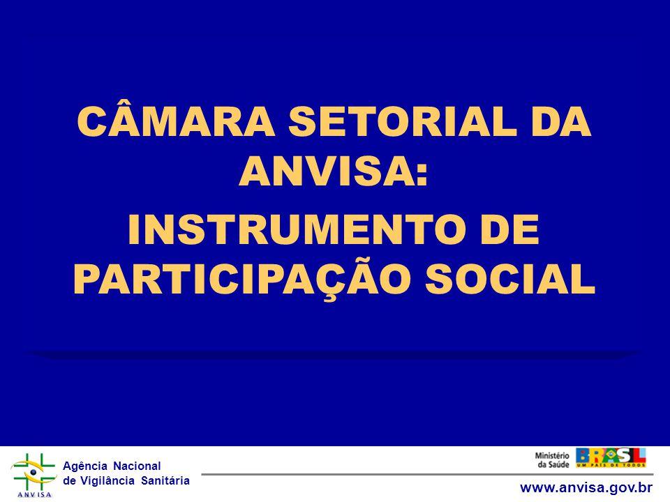 Agência Nacional de Vigilância Sanitária www.anvisa.gov.br CÂMARA SETORIAL DA ANVISA: INSTRUMENTO DE PARTICIPAÇÃO SOCIAL