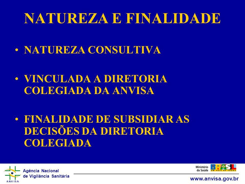 Agência Nacional de Vigilância Sanitária www.anvisa.gov.br NATUREZA E FINALIDADE •NATUREZA CONSULTIVA •VINCULADA A DIRETORIA COLEGIADA DA ANVISA •FINALIDADE DE SUBSIDIAR AS DECISÕES DA DIRETORIA COLEGIADA
