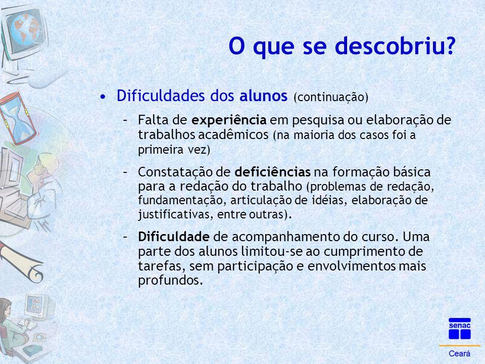 O que se descobriu? •Dificuldades dos alunos (continuação) –Falta de experiência em pesquisa ou elaboração de trabalhos acadêmicos (na maioria dos cas