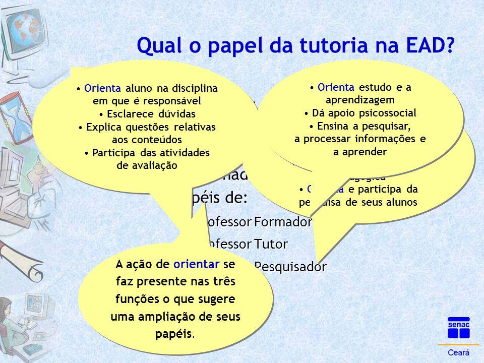 Qual o papel da tutoria na EAD? ParaPara Belloni •O professor pode exercer de uma a várias funções, passíveis ou não em uma experiência didática. Três