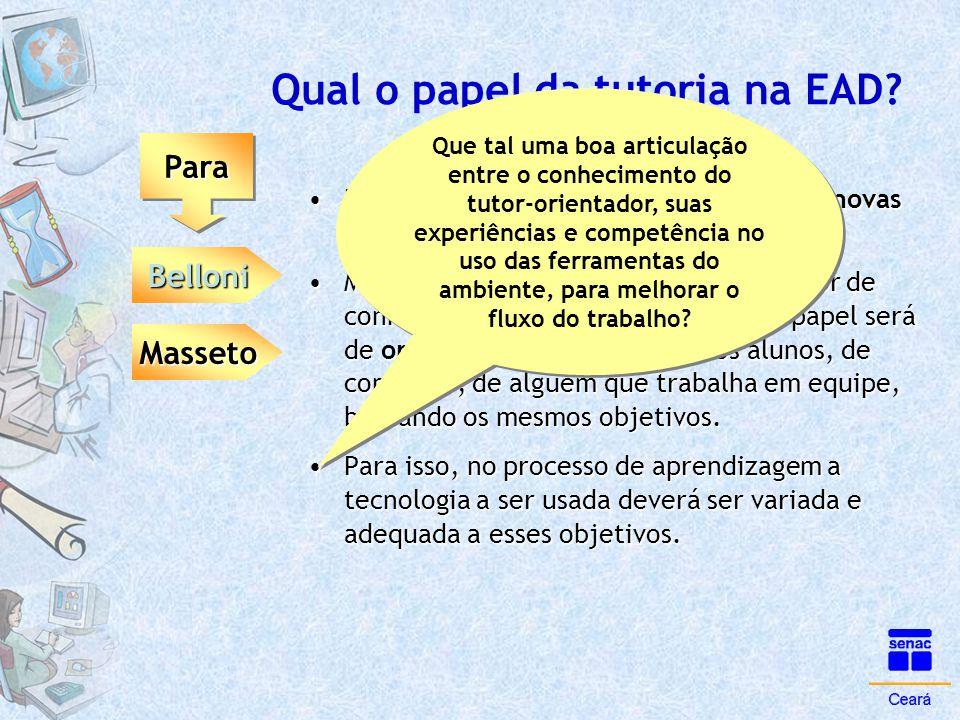 Qual o papel da tutoria na EAD? ParaPara Belloni Masseto •Diante das novas tecnologias, discute as novas atitudes do professor. •Muito mais que um esp