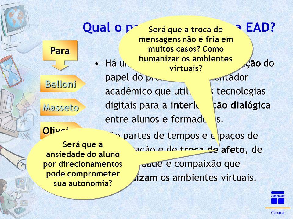 Qual o papel da tutoria na EAD? ParaPara Belloni Masseto Oliveira •Há um processo de (re)significação do papel do professor ou orientador acadêmico qu