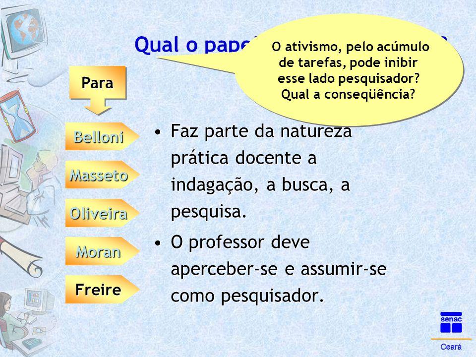 Qual o papel da tutoria na EAD? ParaPara Belloni Moran Masseto Oliveira Freire •Faz parte da natureza prática docente a indagação, a busca, a pesquisa