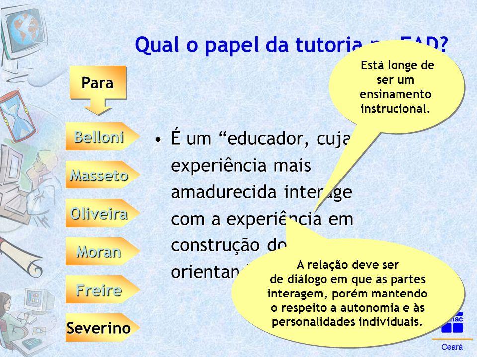 """Qual o papel da tutoria na EAD? ParaPara Belloni Moran Masseto Oliveira Severino Freire •É um """"educador, cuja experiência mais amadurecida interage co"""