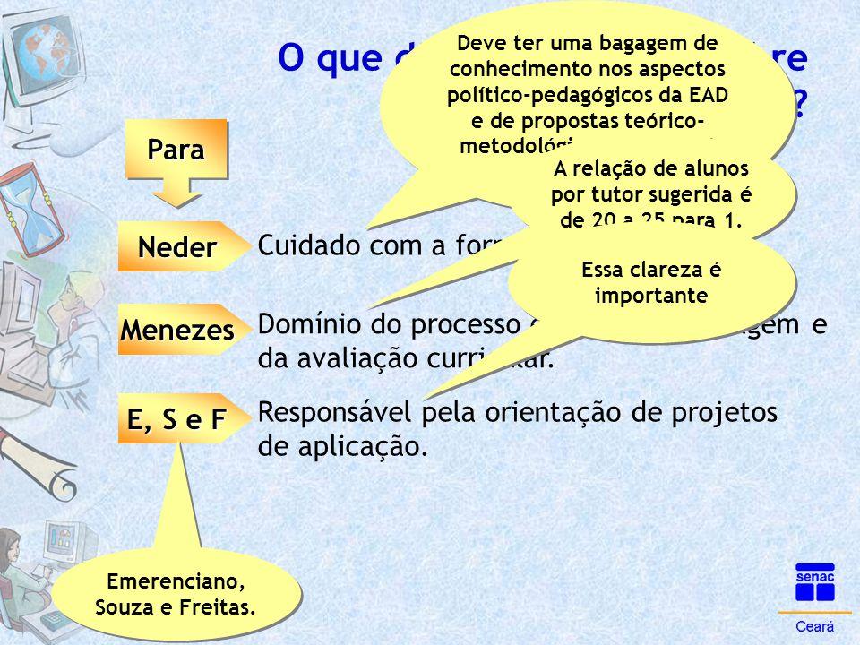 O que dizem os autores sobre tutoria na orientação? ParaPara Neder Menezes E, S e F Deve ter uma bagagem de conhecimento nos aspectos político-pedagóg