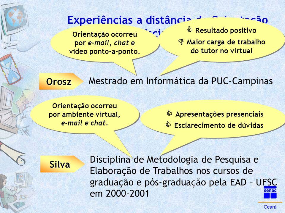 Experiências a distância de Orientação e Disciplina de Metodologia Orosz Orientação ocorreu por e-mail, chat e vídeo ponto-a-ponto. Mestrado em Inform
