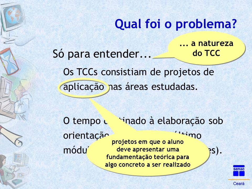 Qual foi o problema? Só para entender... Os TCCs consistiam de projetos de aplicação nas áreas estudadas. O tempo destinado à elaboração sob orientaçã