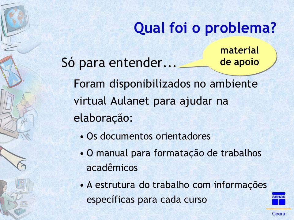 Qual foi o problema? Só para entender... Foram disponibilizados no ambiente virtual Aulanet para ajudar na elaboração: •Os documentos orientadores •O
