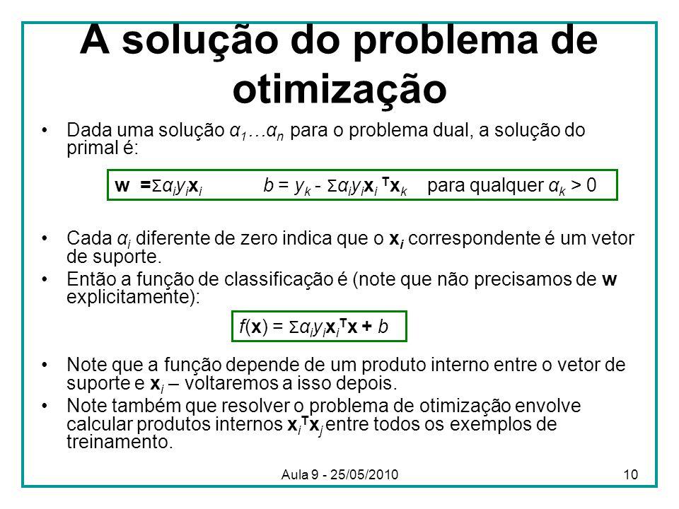 A solução do problema de otimização •Dada uma solução α 1 …α n para o problema dual, a solução do primal é: •Cada α i diferente de zero indica que o x i correspondente é um vetor de suporte.