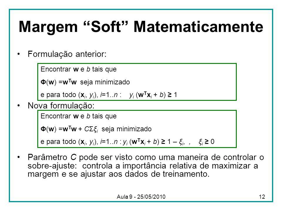 Margem Soft Matematicamente •Formulação anterior: •Nova formulação: •Parâmetro C pode ser visto como uma maneira de controlar o sobre-ajuste: controla a importância relativa de maximizar a margem e se ajustar aos dados de treinamento.