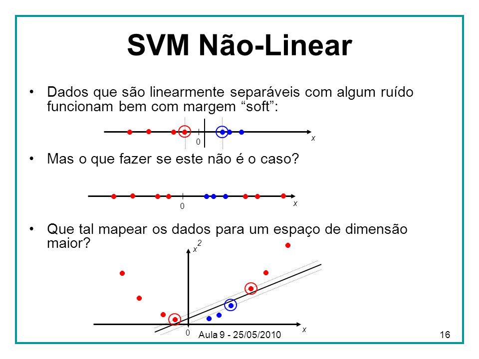 """SVM Não-Linear •Dados que são linearmente separáveis com algum ruído funcionam bem com margem """"soft"""": •Mas o que fazer se este não é o caso? •Que tal"""