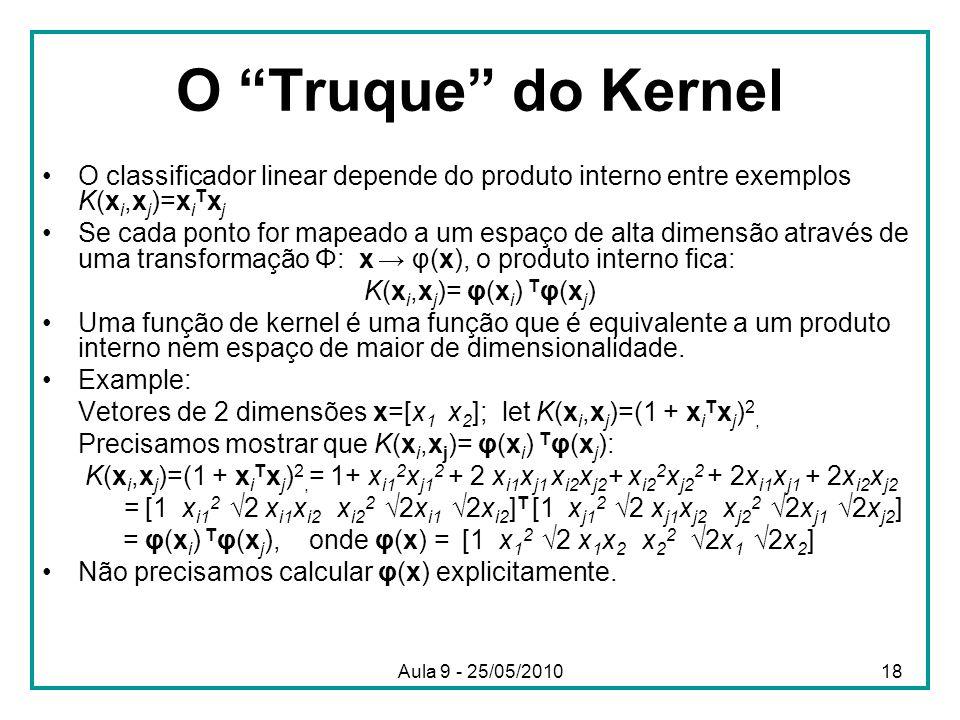 """O """"Truque"""" do Kernel •O classificador linear depende do produto interno entre exemplos K(x i,x j )=x i T x j •Se cada ponto for mapeado a um espaço de"""