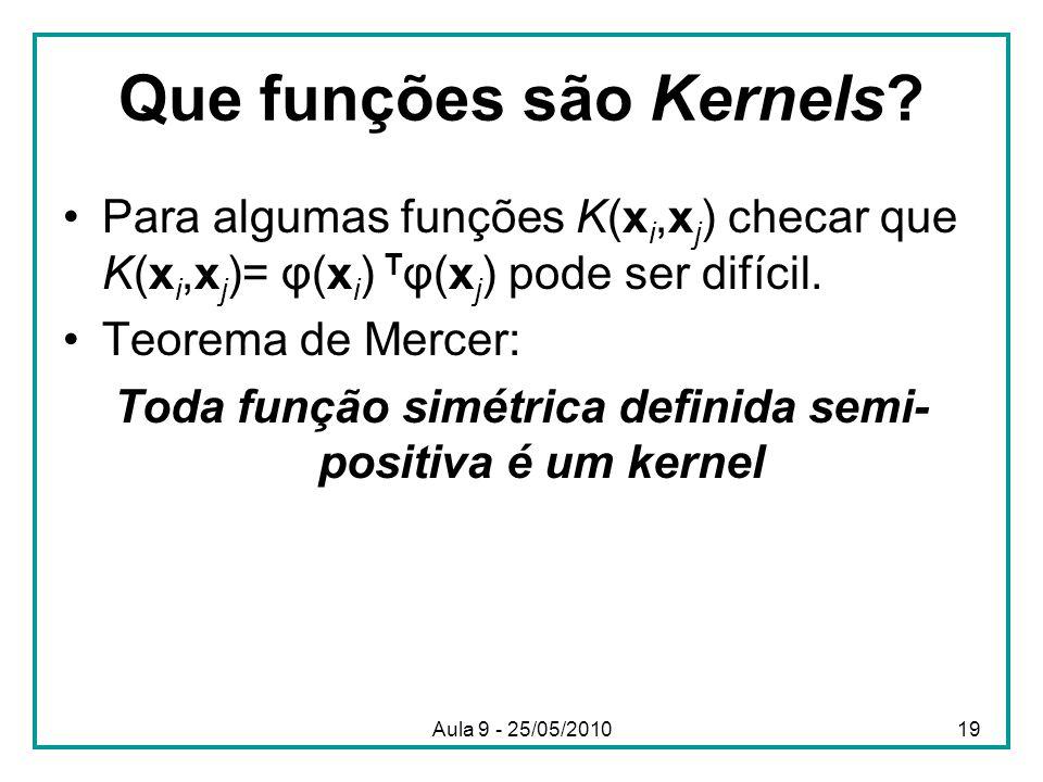 Que funções são Kernels? •Para algumas funções K(x i,x j ) checar que K(x i,x j )= φ(x i ) T φ(x j ) pode ser difícil. •Teorema de Mercer: Toda função