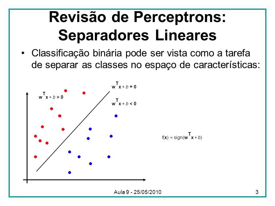 Revisão de Perceptrons: Separadores Lineares •Classificação binária pode ser vista como a tarefa de separar as classes no espaço de características: w T x + b = 0 w T x + b < 0 w T x + b > 0 f(x) = sign(w T x + b) 3Aula 9 - 25/05/2010