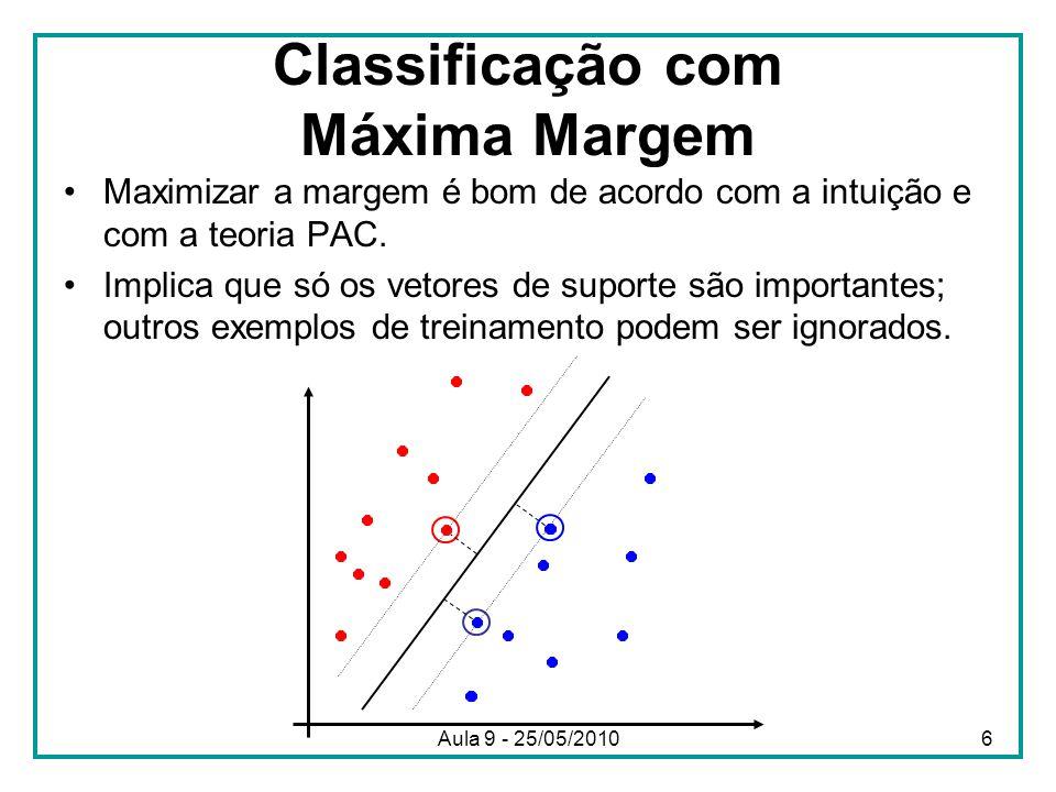 Classificação com Máxima Margem •Maximizar a margem é bom de acordo com a intuição e com a teoria PAC. •Implica que só os vetores de suporte são impor