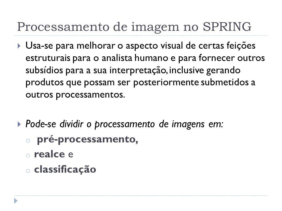 Processamento de imagem no SPRING  Usa-se para melhorar o aspecto visual de certas feições estruturais para o analista humano e para fornecer outros