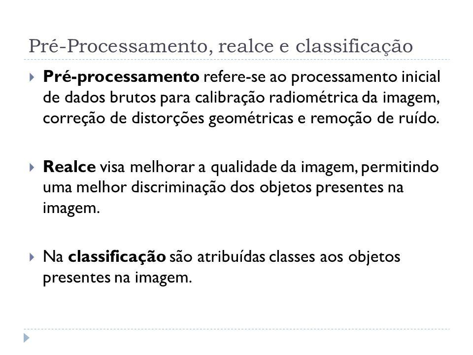 Pré-Processamento, realce e classificação  Pré-processamento refere-se ao processamento inicial de dados brutos para calibração radiométrica da image