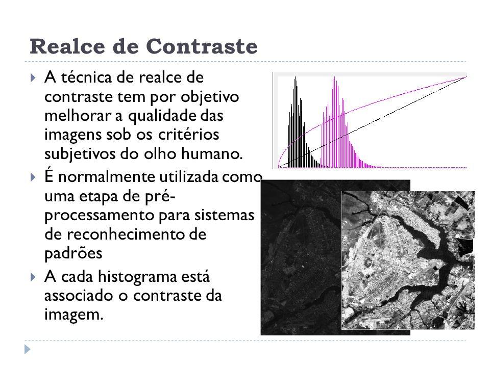 Realce de Contraste  A técnica de realce de contraste tem por objetivo melhorar a qualidade das imagens sob os critérios subjetivos do olho humano. 