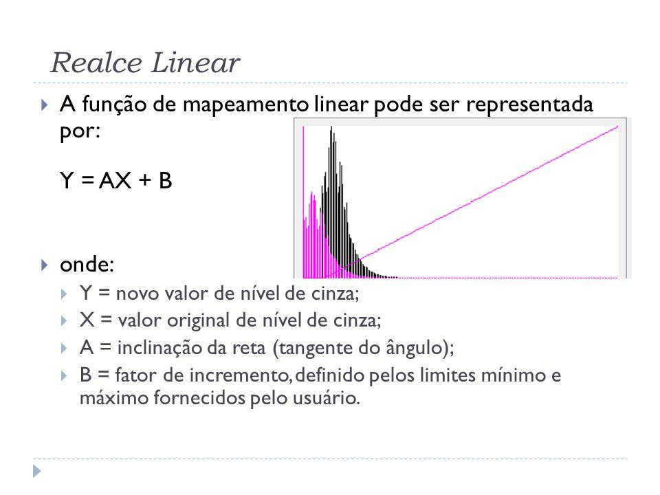 Realce Linear  A função de mapeamento linear pode ser representada por: Y = AX + B  onde:  Y = novo valor de nível de cinza;  X = valor original d