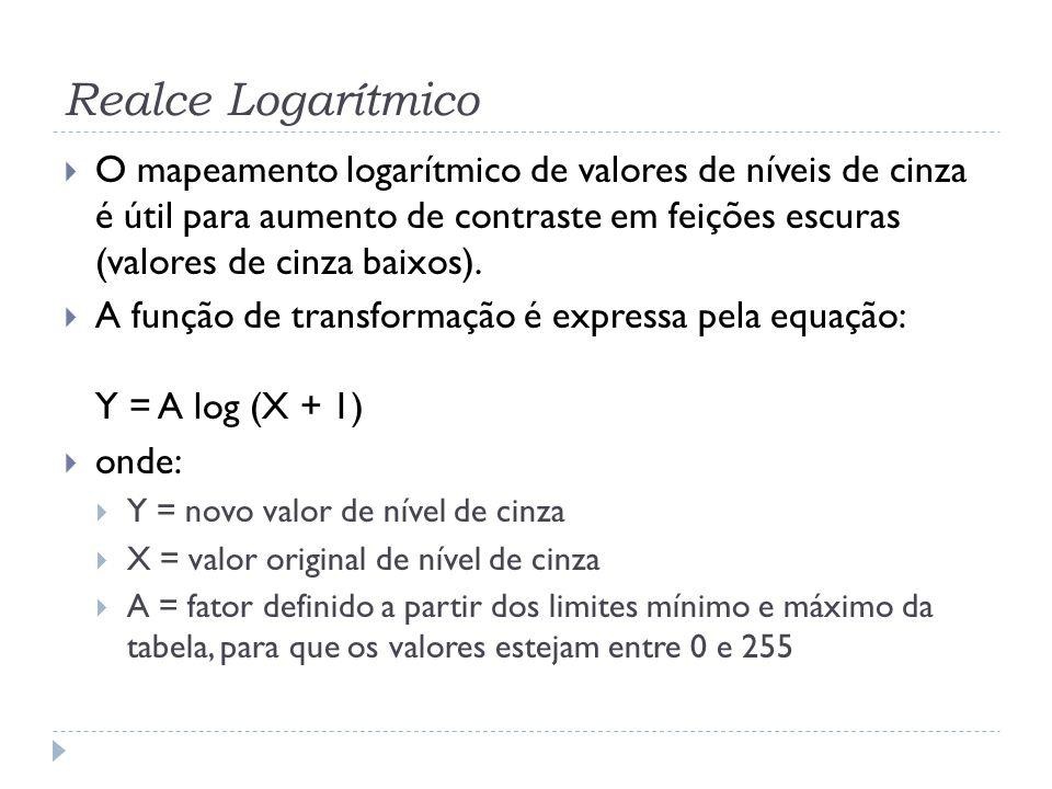 Realce Logarítmico  O mapeamento logarítmico de valores de níveis de cinza é útil para aumento de contraste em feições escuras (valores de cinza baix