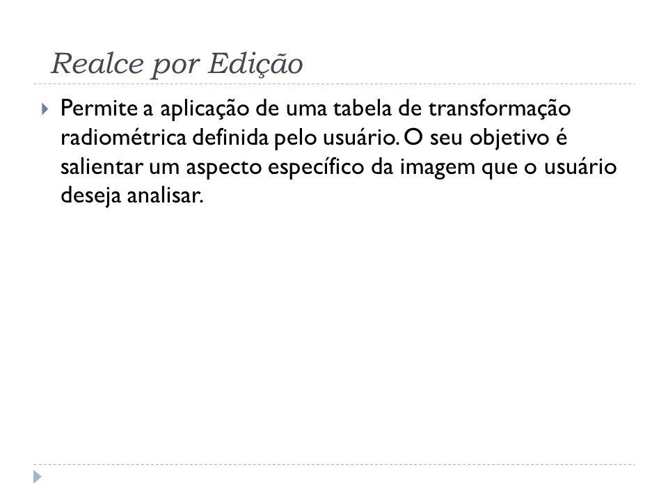 Realce por Edição  Permite a aplicação de uma tabela de transformação radiométrica definida pelo usuário. O seu objetivo é salientar um aspecto espec