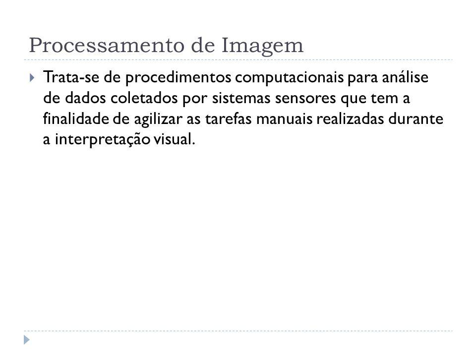 Processamento de Imagem  Trata-se de procedimentos computacionais para análise de dados coletados por sistemas sensores que tem a finalidade de agili