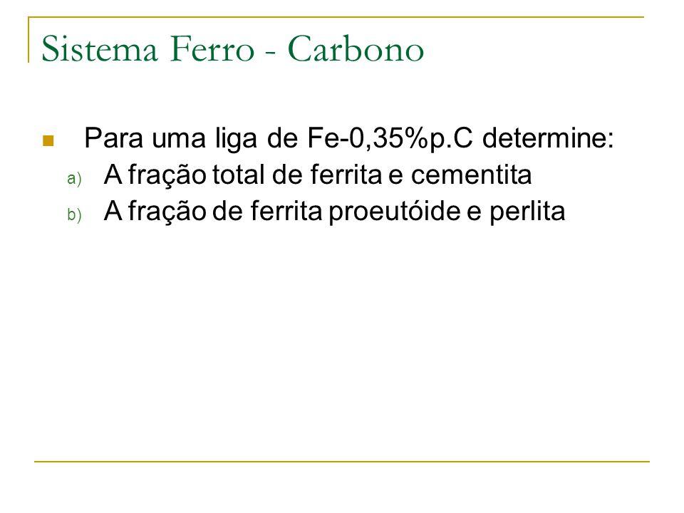  Para uma liga de Fe-0,35%p.C determine: a) A fração total de ferrita e cementita b) A fração de ferrita proeutóide e perlita