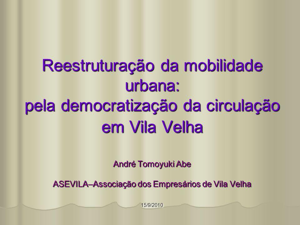Reestruturação da mobilidade urbana: pela democratização da circulação em Vila Velha André Tomoyuki Abe ASEVILA–Associação dos Empresários de Vila Vel