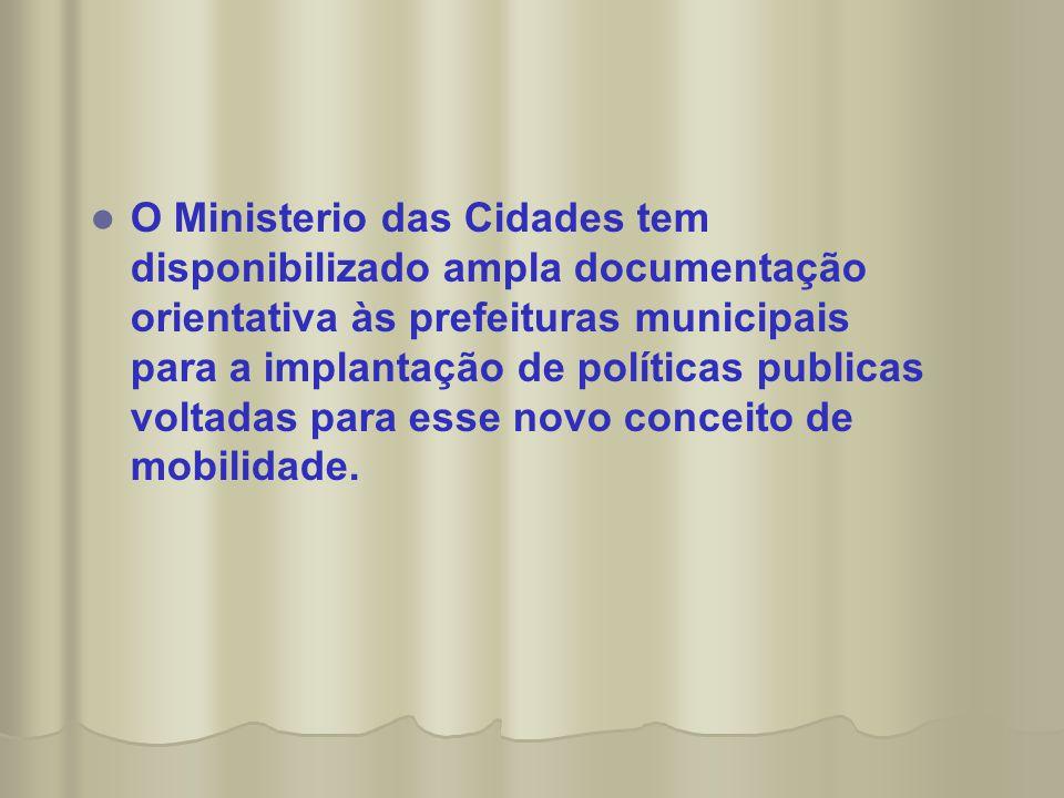   O Ministerio das Cidades tem disponibilizado ampla documentação orientativa às prefeituras municipais para a implantação de políticas publicas vol
