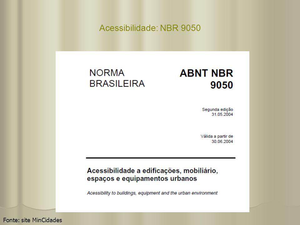 Acessibilidade: NBR 9050 Fonte: site MinCidades