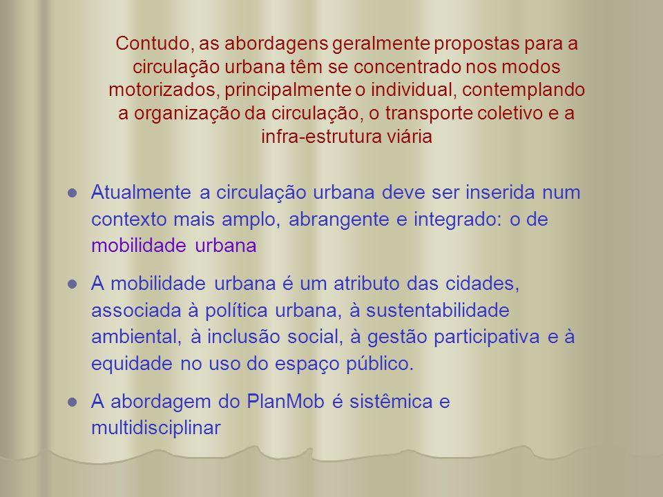 Contudo, as abordagens geralmente propostas para a circulação urbana têm se concentrado nos modos motorizados, principalmente o individual, contemplan