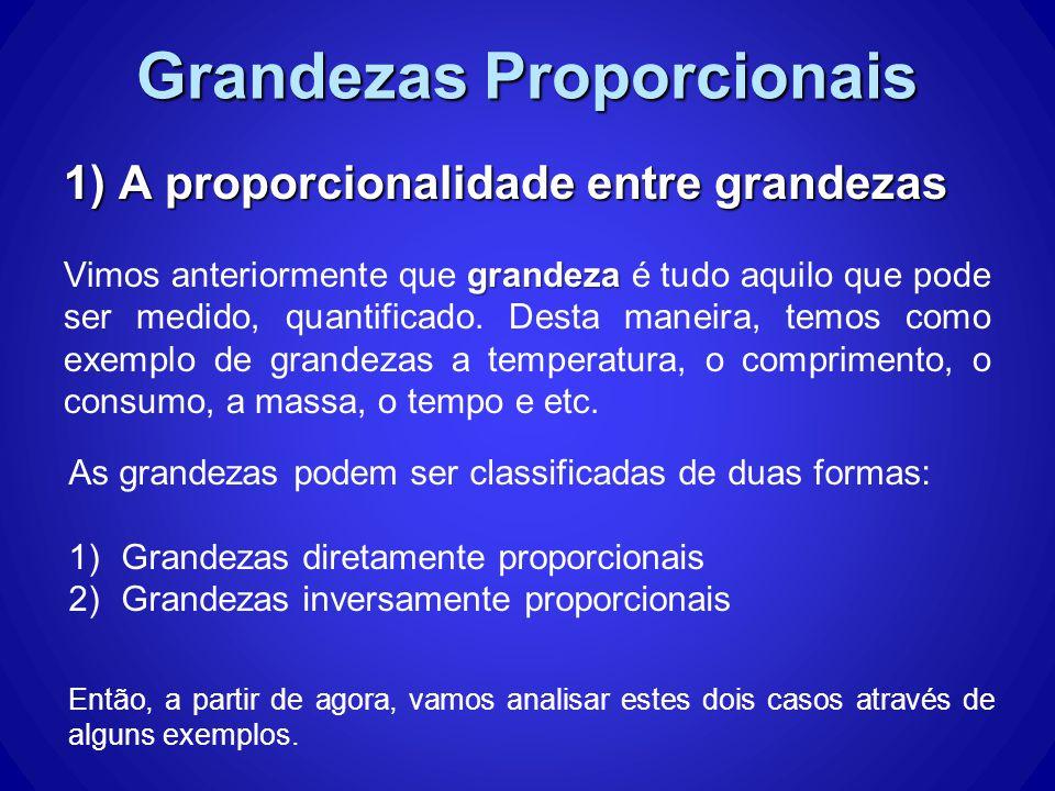 Grandezas Proporcionais 1) A proporcionalidade entre grandezas grandeza Vimos anteriormente que grandeza é tudo aquilo que pode ser medido, quantificado.