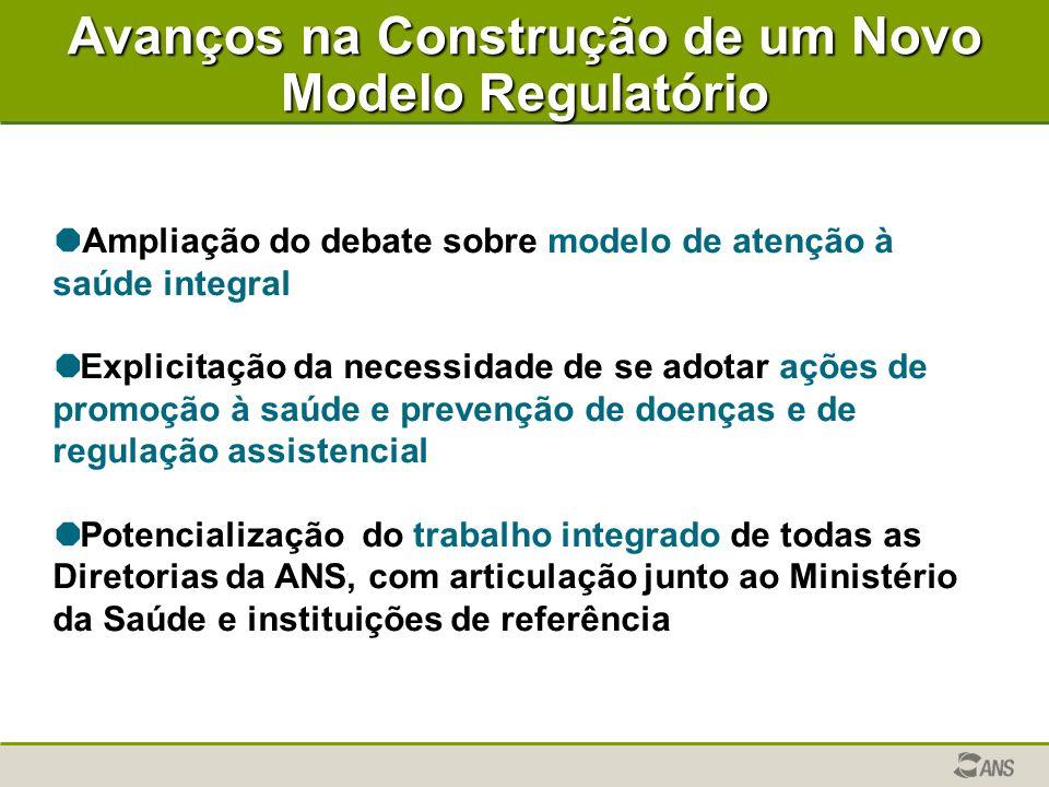 Avanços na Construção de um Novo Modelo Regulatório   Ampliação do debate sobre modelo de atenção à saúde integral   Explicitação da necessidade d