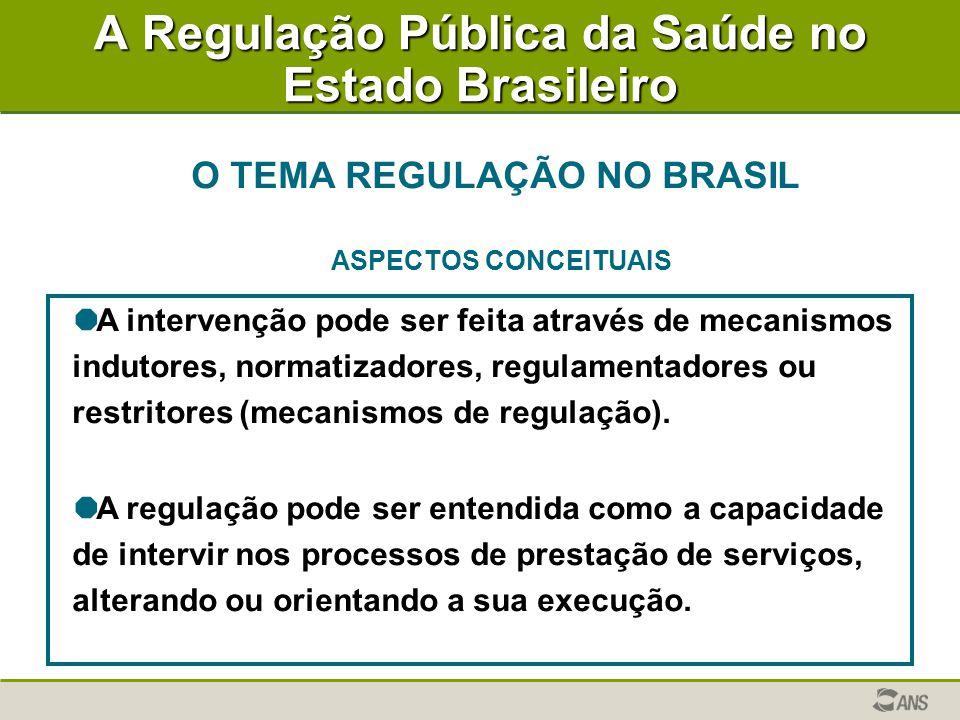 A Regulação Pública da Saúde no Estado Brasileiro O TEMA REGULAÇÃO NO BRASIL ASPECTOS CONCEITUAIS   A intervenção pode ser feita através de mecanismos indutores, normatizadores, regulamentadores ou restritores (mecanismos de regulação).