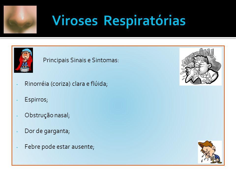  Principais Sinais e Sintomas: - Rinorréia (coriza) clara e flúida; - Espirros; - Obstrução nasal; - Dor de garganta; - Febre pode estar ausente;