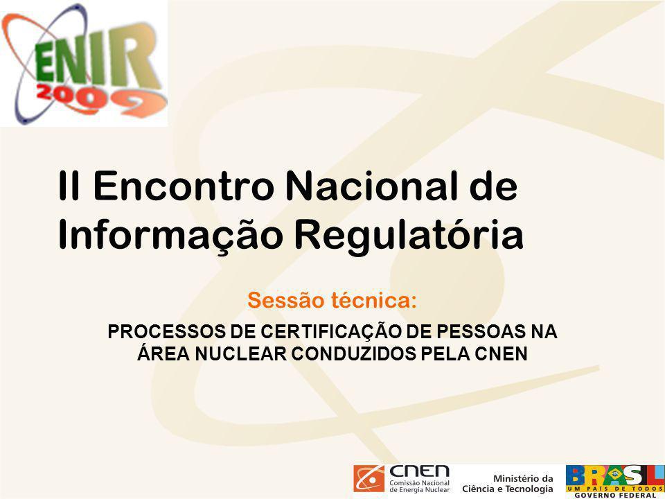 II Encontro Nacional de Informação Regulatória Sessão técnica: PROCESSOS DE CERTIFICAÇÃO DE PESSOAS NA ÁREA NUCLEAR CONDUZIDOS PELA CNEN