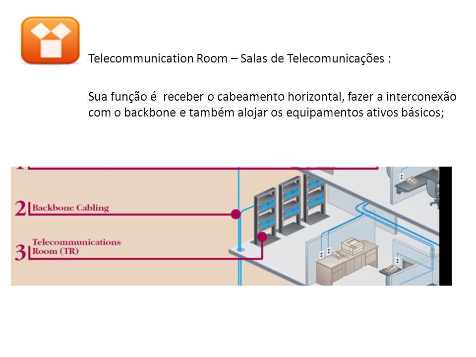 Horizontal Cabling - Cabeamento Secundário: é o cabeamento que se estende dos armários de telecomunicações até a saída de telecomunicações da área de trabalho, compreendendo : cabeamento horizontal, saída de telecomunicações, terminações de cabos e conexões cruzada;