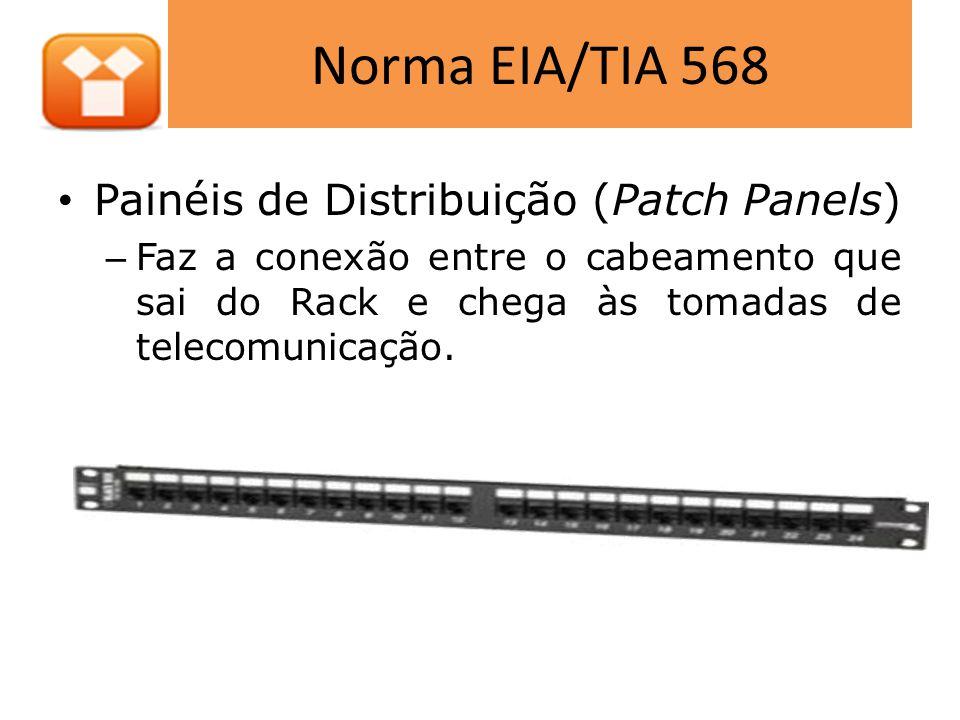 Norma EIA/TIA 568 • Ring Runs – Usados para guiar os patch cables dentro do Rack – Evita que o peso dos cabos não interfira nos contatos tanto nos Hubs como nos patch panels.